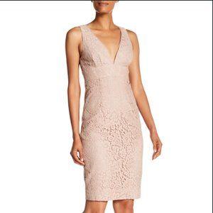 Trina Turk Beige Appeal Sheath Mid-length Lace